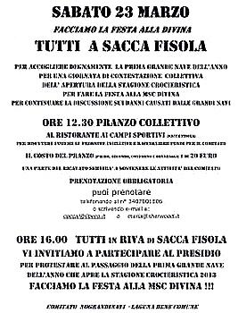 NO GRANDI NAVI, PREMIERE MANIFESTATION DE LA SAISON dans 02 Venise : évenements 012